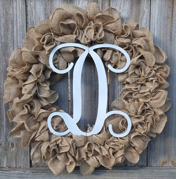 Burlap Initial Wreath Front Door Wreath Burlap Monogram Wreath Burlap Door Wreath Initial Wreath Letter Wreath Personalized Wreath