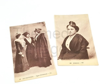 Arlesiennes women wearing their traditional dress vintage French postcards