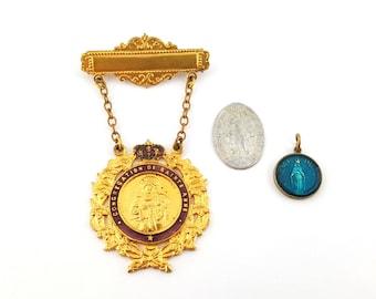Congretation De Sainte Anne bar pin medallion  Miraculous Medal  Notre-Dame-du-Cap Catholic religious lot Saint Anne