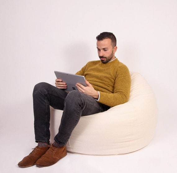 Incredible Round Bean Bag Chair Wool Filled Washable Cover Oeko Tex Certified Wool Filling Any Size On Request Alphanode Cool Chair Designs And Ideas Alphanodeonline