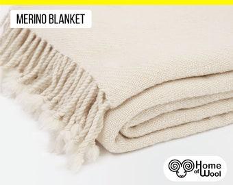 """Cozy All-natural Merino Wool Blanket / 59"""" x 75"""" (150 x 190 cm) / Wool Throw Blanket"""