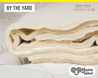 100% Pure New Wool Batting / By the Yard / Oeko-Tex Certified / Perfect for DIY Decoration, Arts & crafts, Upholstery, Insulation