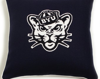 Father's Dat Gift! BYU Brigham Young University Cougar Logo Wool Letterman Pillow