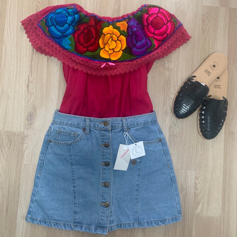 Mexican Off Shoulder Top Campesina Top Mexican Embroidered Top