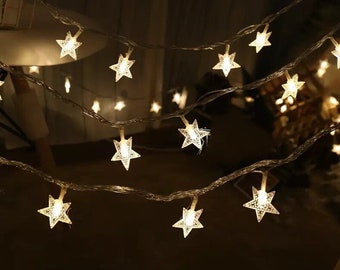 warm white led twinkle star battery operated party fairy lights birthday party wedding light decorations christmas cafe kids room decoration