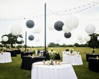 10pcs 8 Or 12 158 Black White Paper Lanterns Engagement Wedding Anniversary 21st Birthday Baby Shower Party Hanging Decoration