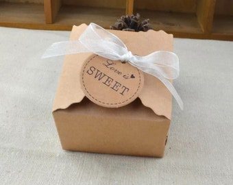 """150 mini Kraft Wedding Favor Boxes with Ribbon and """"love is sweet"""" Tags 