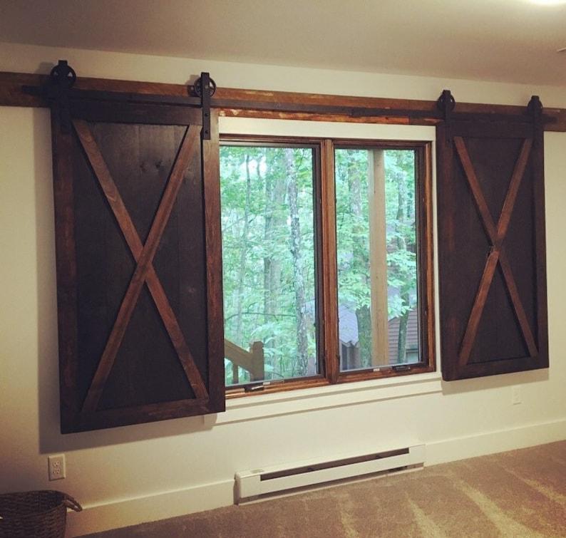 Two Custom Rustic Wood Barn Door Shutters for Windows | Etsy