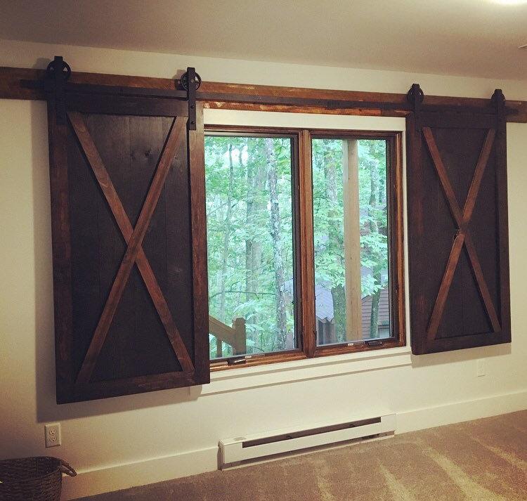 Two Custom Rustic Wood Barn Door Shutters For Windows Etsy