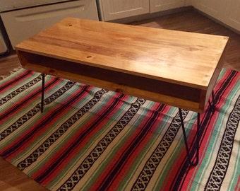 Custom Retro Mid-Century Coffee Table on Angled Danish Legs or Hairpin Legs