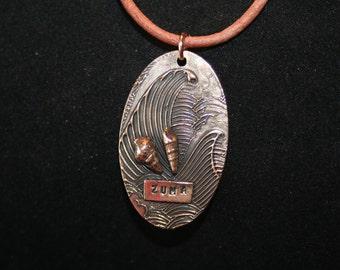 Wave, shells & Zuma -- Bronze Wave Pendant, Shells and Zuma