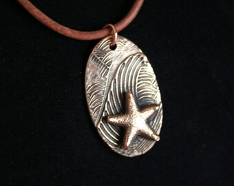 Bronze Wave Pendant with Starfish