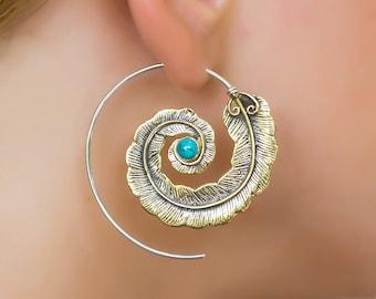 Feather Earrings. Bohemian Earrings. Native American Earrings. Turquoise Earrings. Boho Earrings. Large Earrings. Tribal Earthy Jewelry