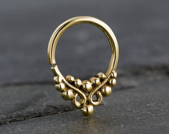Diameter 16g 1.2mm 8mm Titanium Horseshoe Internally Threaded with 3mm Clear Prong-Set Gems Septum in Anodized Bronze Finish 516
