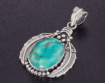 Sterling Silver Native American Feather Pendant. Bohemian Necklace