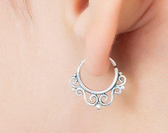 Tiny silver hoops. tribal earring. cartilage earring. tragus earring. tiny hoop earrings. tiny earrings. helix earring.