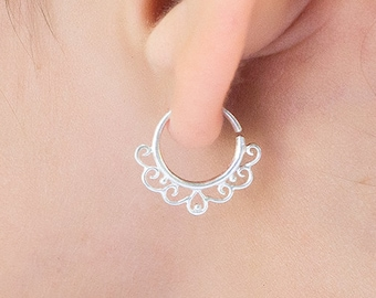 Cartilage Tribal Earring. sterling silver tiny hoops. tiny earrings. helix earring.