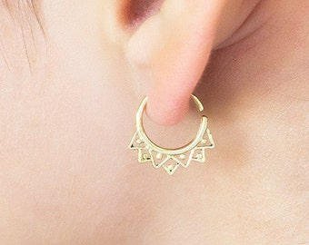 Tiny gold earring. Minimalistic. Tribal. Hoop earring. Cartilage.