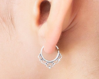 Tribal cartilage earring.  tiny hoop earring. Available in gold plated brass, brass and sterling silver