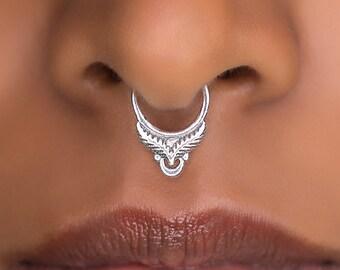 Sterling SIlver Septum Ring For Pierced Nose . Indian Septum Ring. Tribal Septum Ring. Septum Piercing. Fake Septum. Tribal Septum Jewellery