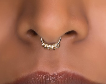 Tribal Septum Ring for pierced nose. septum piercing. brass septum ring. tribal brass septum ring. brass septum.18g
