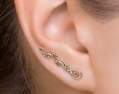 Ear Climber, Gold Ear Climbers, Climbing Earring, Ear Crawler Earrings