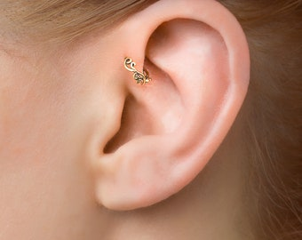 POST Pierced Cartilage Helix Hoop Hex piercing Conch Earring Body Jewelry Upper Ear Conch Tragus Rook Body Piercing Gold Hammered MC10MGFHMP
