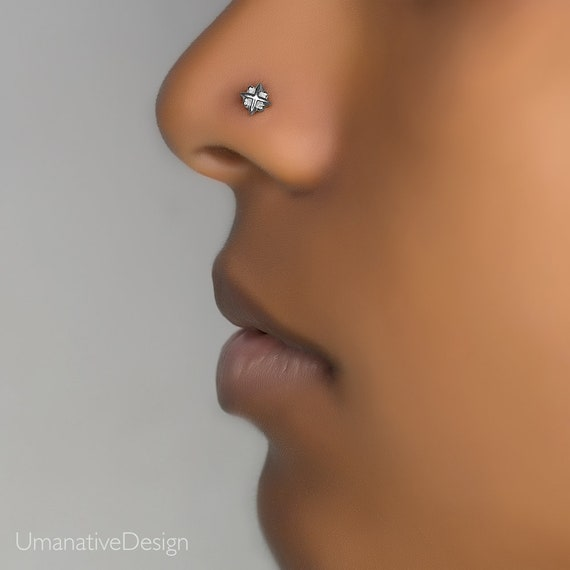 Nose Stud Tiny Nose Stud Nose Ring Flower Nose Stud Thin Etsy