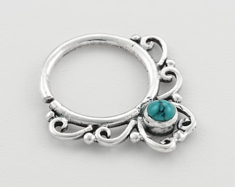 Tribal silver cartilage  earring with turquoise . Can be worn as an earring for the tragus, cartilage, helix, septum or as a nose ring.