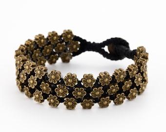 Flower Bracelet. brass bracelet. tribal bracelet. wide bracelet. rustic bracelet. bohemain jewelry. boho chic bracelet. boho jewelry.