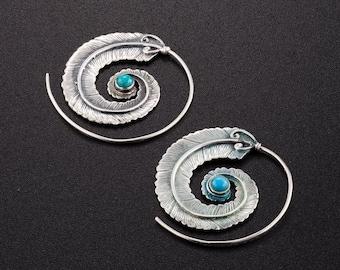 Sterling Silver spiral earrings. boho earrings. boho chic. tribal earrings. ethnic earrings. hippie earrings. boho jewelry. large earrings.