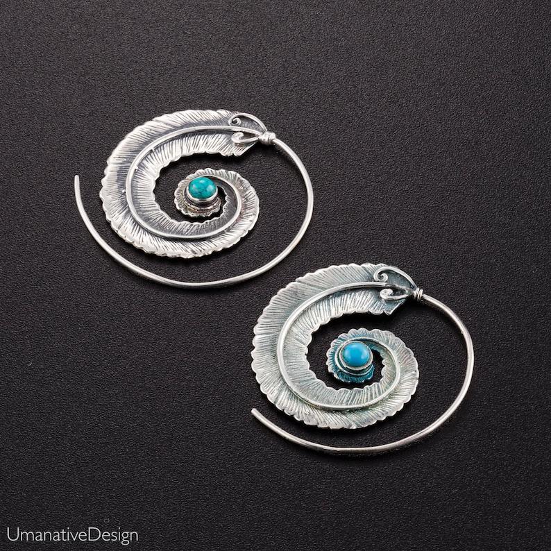 6d0878c3f Sterling Silver Spiral Earrings Boho Earrings Tribal | Etsy