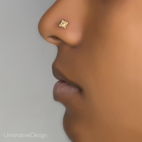 Gold Flower Nose Stud Nose Ring Nose Piercing Nose Jewelry Etsy