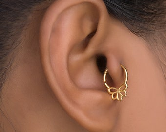 Tribal earring. tragus earring. conch earring. rook earring. conch piercing. tiny hoop earrings. helix earring. cartilage earring.