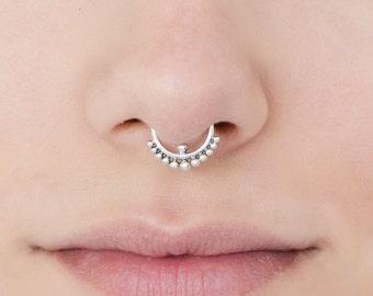 16g Tribal Septum Ring for pierced nose. septum piercing. silver septum ring. tribal septum ring. tribal septum. silver septum.