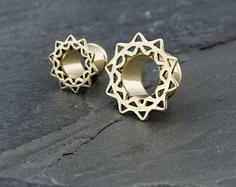 13mm-1/2g Brass lotus ear tunnels