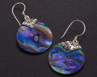 Abalone earrings. Paua shell earrings.  beach jewelry. Sterling silver abalone earrings. abalone shell jewelry.