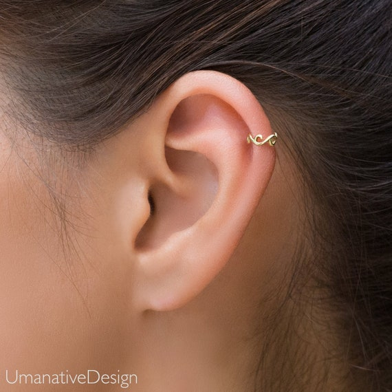 Gold Helix Piercing, Cartilage Earring, Tragus Earring, Daith Piercing, Daith Earring, Tragus Piercing