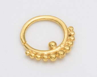 16g Gold Tribal Septum Ring for pierced nose. gold septum. septum piercing. gold septum ring.tribal septum ring.