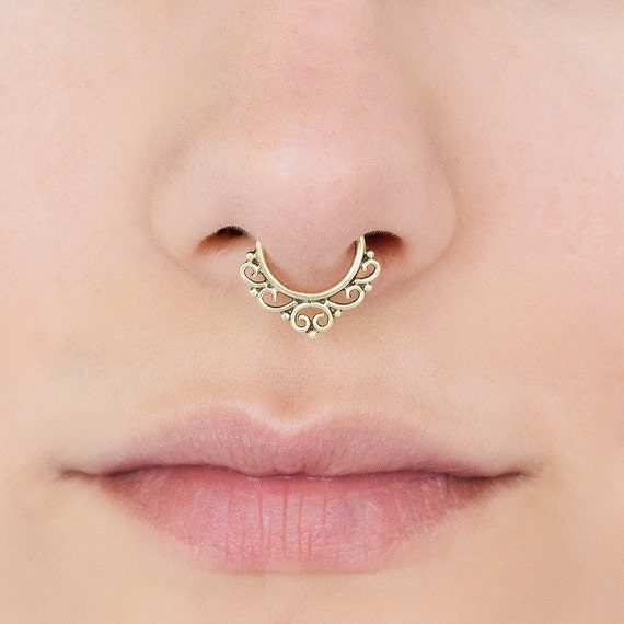 Brass Fake//Faux//Clip On Septum Ring For Non Pierced Noses Code 10