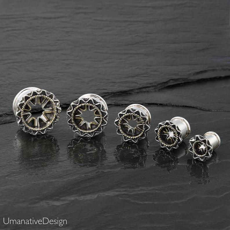 Plugs And Tunnels 0 Gauge Earrings 8mm Ear plugs Sterling Silver and Gold Tunnels Ear Tunnels Ear Gauges