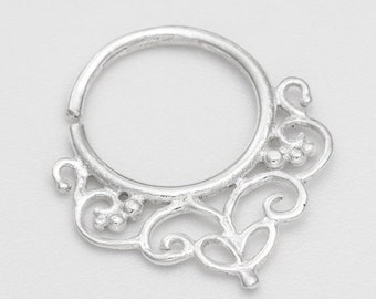 Silver Septum Ring for pierced nose. silver septum ring. tribal septum ring. septum piercing. septum ring. septum jewelry. nose ring