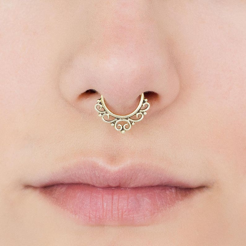 Septum Ring Indian Septum Ring Gold Septum Ring Gold Septum image 0