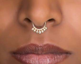 16g Tribal Gold Septum Ring For Pierced Nose. Septum Piercing. Gold Septum. Septum Jewelry. Tiny Septum