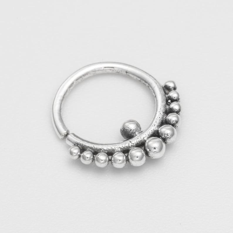 18g Tribal Septum Ring For Pierced Nose Piercing Sterling Silver 925 Nose Septum.
