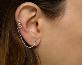 Silver Ear Cuff earring chain. chain ear cuff. ear cuff.. ear cuffs earring. ear cuff sterling silver.