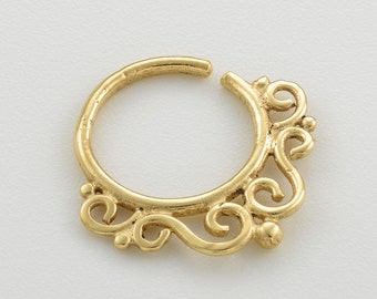 Tribal Septum Ring. indian septum ring. boho chic. nose jewelry. septum piercing. gold septum ring. septum. gold septum. septum jewelry.
