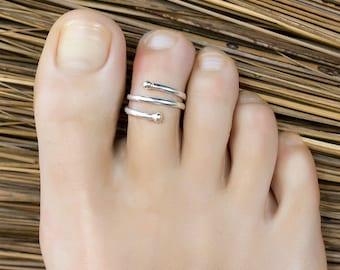 Multi band toe ring. silver toe ring. toe ring band