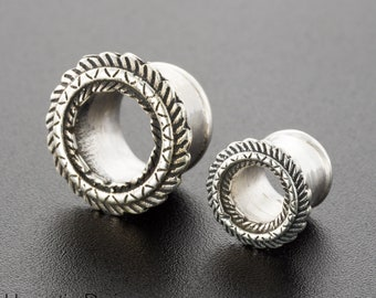2g Tribal Ear Tunnel. Unique Ear Gauges. Silver Plugs And Tunnels. 2g Ear Gauges. Ear Plugs Gauges. 6mm Silver Ear Tunnels