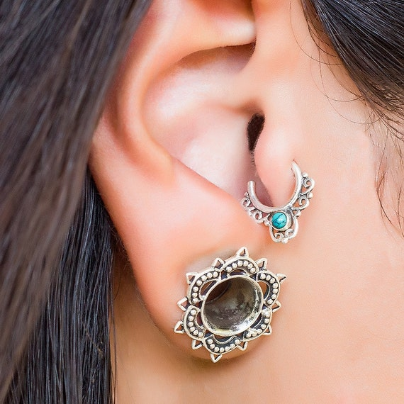63ef6d30eadb3 Silver Ear Tragus. Daith Earring. Conch Earring Hoop. Helix Earring Hoop.  Tragus Earrings. Helix Earring. Cartilage Earring